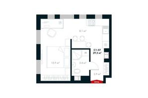 ЖК Atria City. Teremky: планування 1-кімнатної квартири 29.3 м²