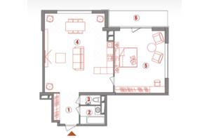 ЖК AuRoom  : планировка 2-комнатной квартиры 89.7 м²