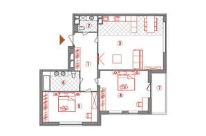 ЖК AuRoom  : планировка 3-комнатной квартиры 111 м²