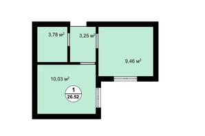 ЖК Aura: планування 1-кімнатної квартири 26.3 м²
