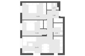 ЖК Avalon Holiday: планування 2-кімнатної квартири 69.01 м²