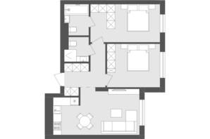 ЖК Avalon Holiday: планування 2-кімнатної квартири 61.02 м²