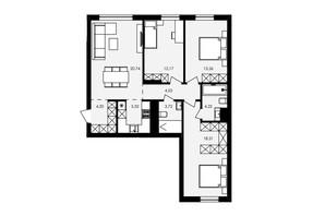 ЖК Avalon Holiday: планування 3-кімнатної квартири 86.37 м²