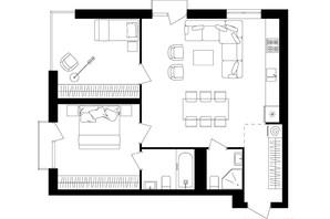ЖК Avalon Up: планування 2-кімнатної квартири 73.39 м²