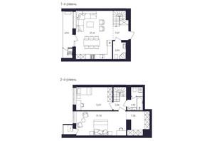 ЖК Avalon Up: планування 2-кімнатної квартири 88.22 м²