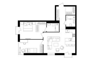 ЖК Avalon Up: планування 2-кімнатної квартири 75.2 м²