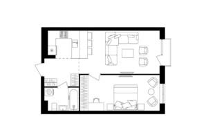 ЖК Avalon Up: планировка 1-комнатной квартиры 48.45 м²