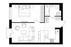 ЖК Avalon Up: планировка 1-комнатной квартиры 48.04 м²
