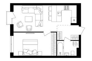 ЖК Avalon Up: планировка 1-комнатной квартиры 48.19 м²