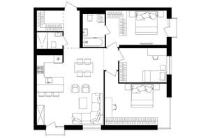 ЖК Avalon Up: планировка 3-комнатной квартиры 91.3 м²