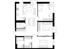 ЖК Avalon Up: планировка 3-комнатной квартиры 84.04 м²