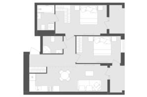 ЖК Avalon Zelena Street: планування 2-кімнатної квартири 69.96 м²