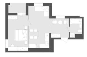 ЖК Avalon Zelena Street: планування 1-кімнатної квартири 48.06 м²