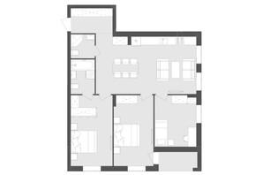 ЖК Avalon Zelena Street: планування 3-кімнатної квартири 88.7 м²