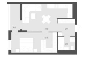 ЖК Avalon Zelena Street: планування 1-кімнатної квартири 49.81 м²