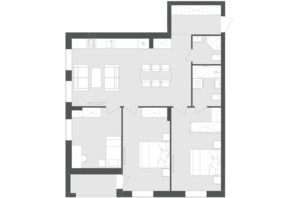 ЖК Avalon Zelena Street: планировка 3-комнатной квартиры 88.17 м²