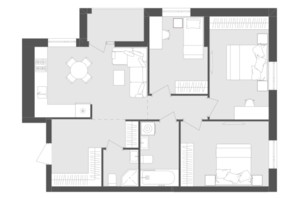 ЖК Avalon Zelena Street: планировка 3-комнатной квартиры 75.82 м²