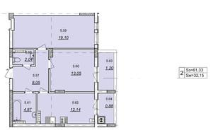 ЖК Авангард: планування 2-кімнатної квартири 61.33 м²