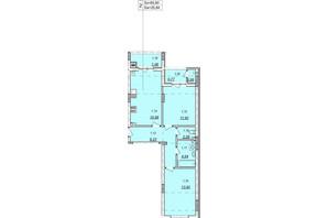 ЖК Авангард: планування 2-кімнатної квартири 60.6 м²