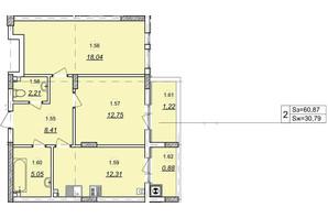 ЖК Авангард: планування 2-кімнатної квартири 60.87 м²