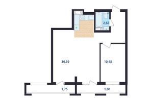 ЖК Авіа Квартал: планування 1-кімнатної квартири 54.4 м²