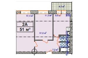 ЖК Авіатор: планування 2-кімнатної квартири 51 м²