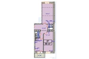 ЖК Авіатор: планування 2-кімнатної квартири 68 м²