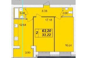 ЖК Avila (Авіла): планування 2-кімнатної квартири 63.2 м²