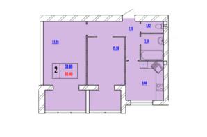 ЖК Avila Line: планування 2-кімнатної квартири 60.4 м²