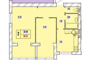 ЖК Avila Line: планування 2-кімнатної квартири 58.33 м²