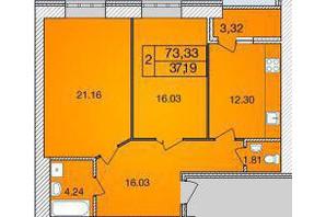 ЖК Avila: планировка 2-комнатной квартиры 73.33 м²