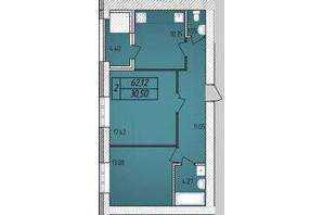 ЖК Avila: планировка 2-комнатной квартиры 62.12 м²