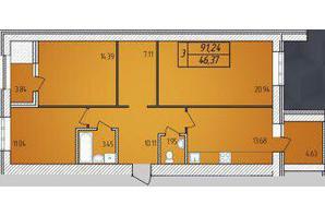 ЖК Avila: планировка 3-комнатной квартиры 91.24 м²