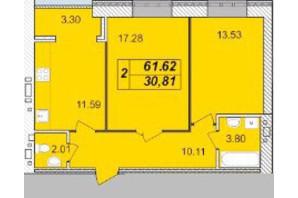 ЖК Avila: планировка 2-комнатной квартиры 61.62 м²
