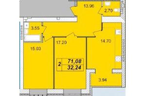 ЖК Avila: планировка 2-комнатной квартиры 71.08 м²