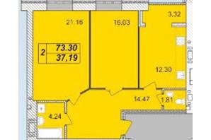 ЖК Avila: планировка 2-комнатной квартиры 73.3 м²