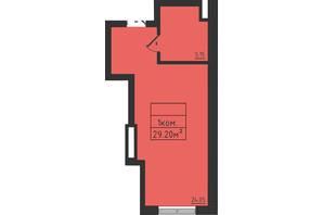 ЖК Avinion: планування 1-кімнатної квартири 29.2 м²