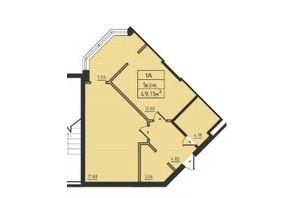 ЖК Avinion: планування 1-кімнатної квартири 50.1 м²
