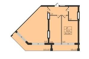 ЖК Avinion: планування 2-кімнатної квартири 86.3 м²