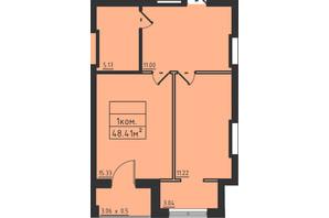 ЖК Avinion: планування 1-кімнатної квартири 48.4 м²