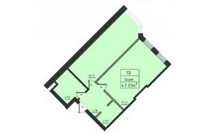 ЖК Avinion: планування 1-кімнатної квартири 47.1 м²