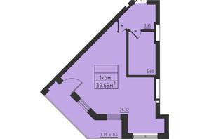 ЖК Avinion: планування 1-кімнатної квартири 39.7 м²