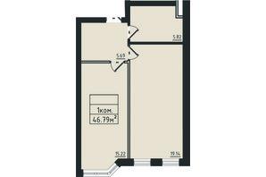 ЖК Avinion: планування 1-кімнатної квартири 46.8 м²