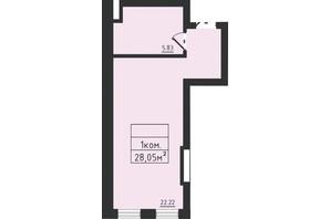 ЖК Avinion: планування 1-кімнатної квартири 28.1 м²
