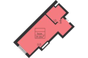 ЖК Avinion: планировка 1-комнатной квартиры 29.2 м²