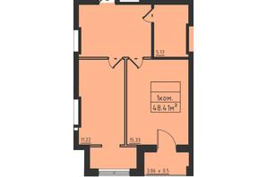 ЖК Avinion: планировка 1-комнатной квартиры 48.4 м²