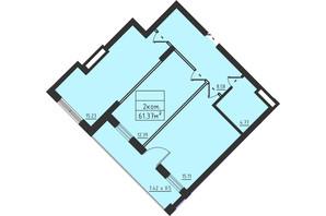 ЖК Avinion: планировка 2-комнатной квартиры 61.4 м²