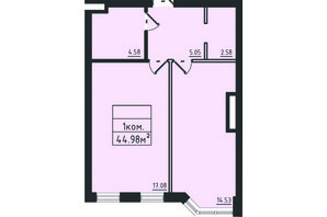 ЖК Avinion: планировка 1-комнатной квартиры 45 м²
