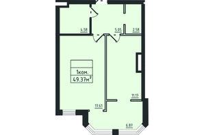 ЖК Avinion: планировка 1-комнатной квартиры 49.4 м²