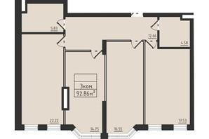 ЖК Avinion: планировка 3-комнатной квартиры 92.9 м²